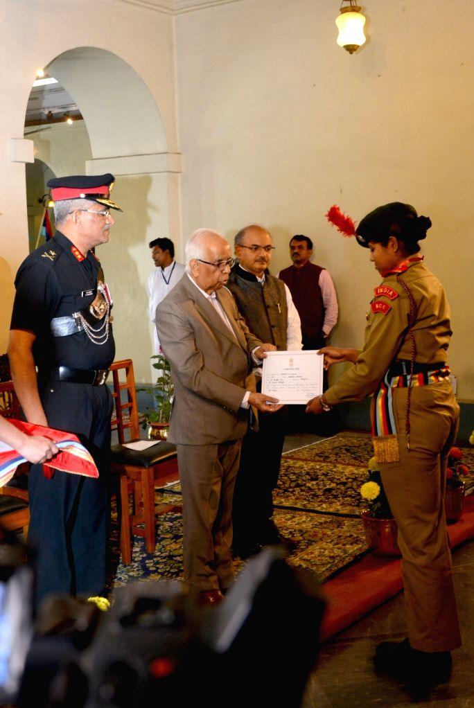 West Bengal Governor Keshari Nath Tripathi presents Governor's Medal to a NCC Cadet during the presentation ceremony for outstanding NCC Cadets from West Bengal and Sikkim Directorate at ... - Keshari Nath Tripathi
