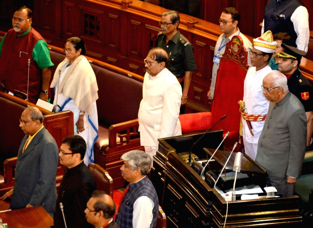 West Bengal Governor Keshari Nath Tripathi, Chief Minister Mamata Banerjee, state cabinet minister Partha Chatterjee and other legislators during the Budget session of the state assembly, in ... - Mamata Banerjee, Keshari Nath Tripathi and Partha Chatterjee