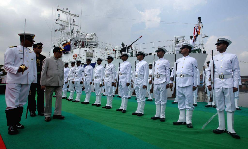 "West Bengal Governor Keshari Nath Tripathi during the commissioning ceremony of Indian Coast Guard Fast Patrol Vessel ""ICGS Anmol"" at Andaman Jetty at Khidirpur Dock in Kolkata, on ... - Keshari Nath Tripathi"
