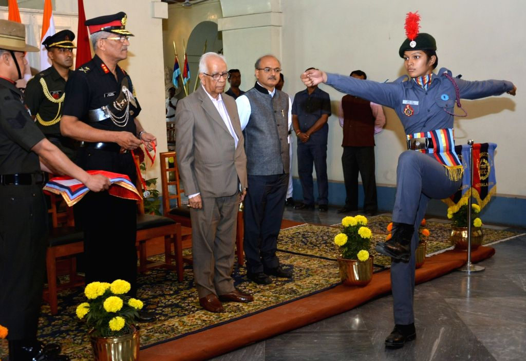 West Bengal Governor Keshari Nath Tripathi during the presentation of Governor's Medal to outstanding NCC Cadets from West Bengal and Sikkim Directorate at Raj Bhawan in Kolkata on Feb 7, ... - Keshari Nath Tripathi