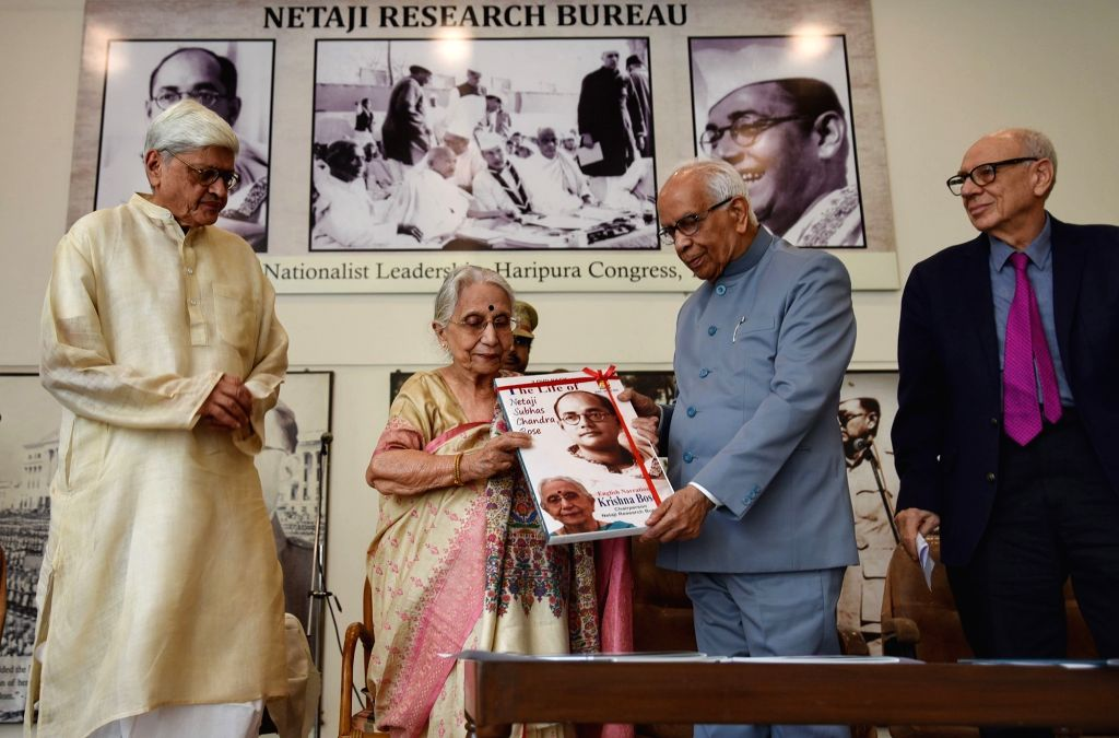West Bengal Governor Keshari Nath Tripathi, Former state Governor Gopalkrishna Gandhi and Netaji Research Bureau Chairperson Krishna Bose during a programme organised on the 122nd birth ... - Keshari Nath Tripathi and Gopalkrishna Gandhi