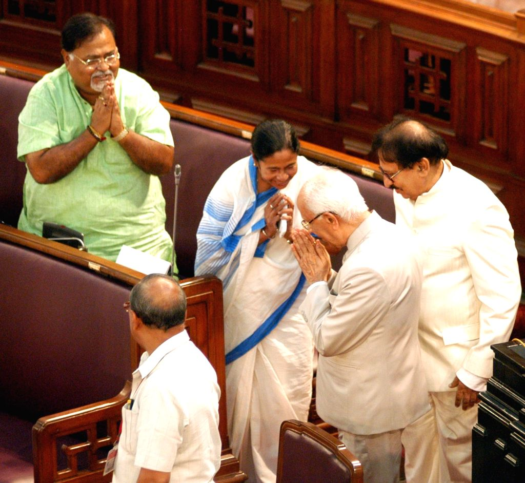 West Bengal Governor Keshari Nath Tripathi, Mamata Banerjee and Education Minister Partha Chatterjee during the budget session at West Bengal Assembly in Kolkata on June 17, 2016. - Partha Chatterjee, Keshari Nath Tripathi and Mamata Banerjee