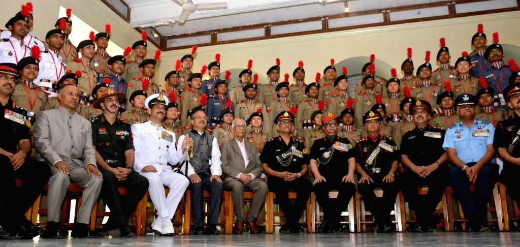 West Bengal Governor Keshari Nath Tripathi with the NCC Cadets from West Bengal and Sikkim Directorate at Raj Bhawan in Kolkata on Feb 7, 2018. - Keshari Nath Tripathi