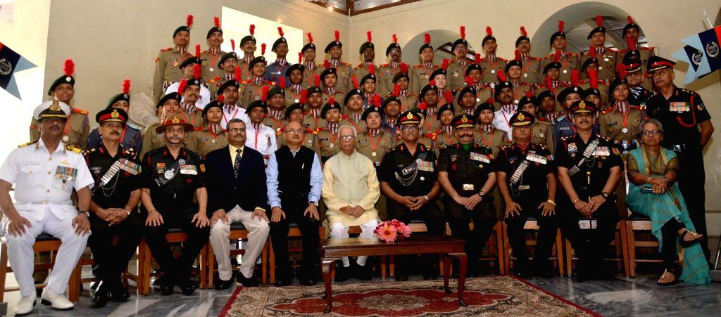 West Bengal Governor Keshari Nath Tripathi with NCC Cadets during an award ceremony at Raj Bhawan, in Kolkata on Feb 6, 2019. - Keshari Nath Tripathi