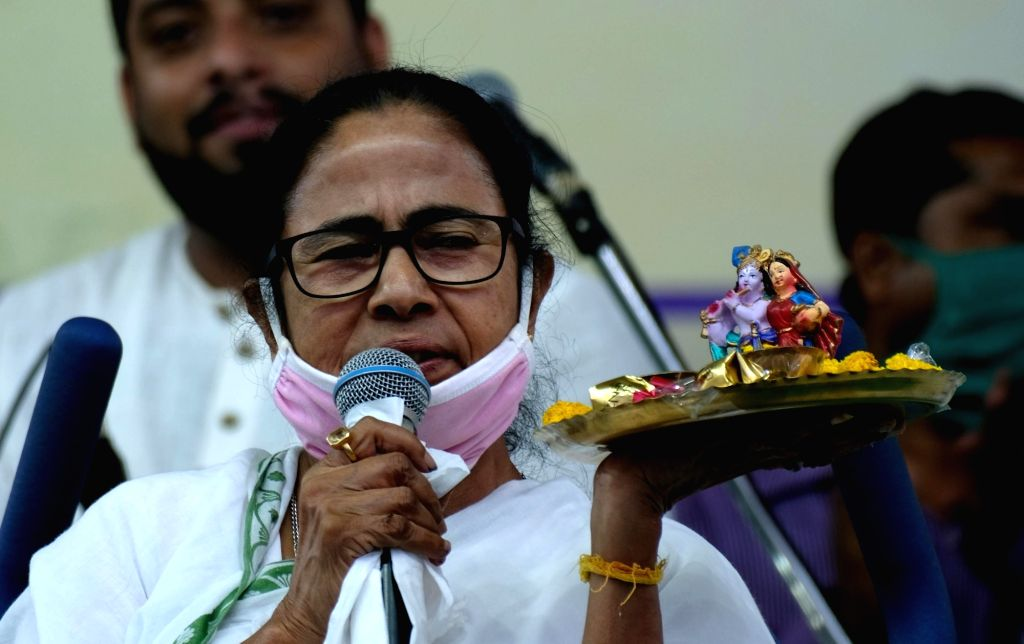 West Bengal:  Mamata Banerjee at Nandigram Election Campaign  28th March 2021. (Photo: IANS). - Mamata Banerjee