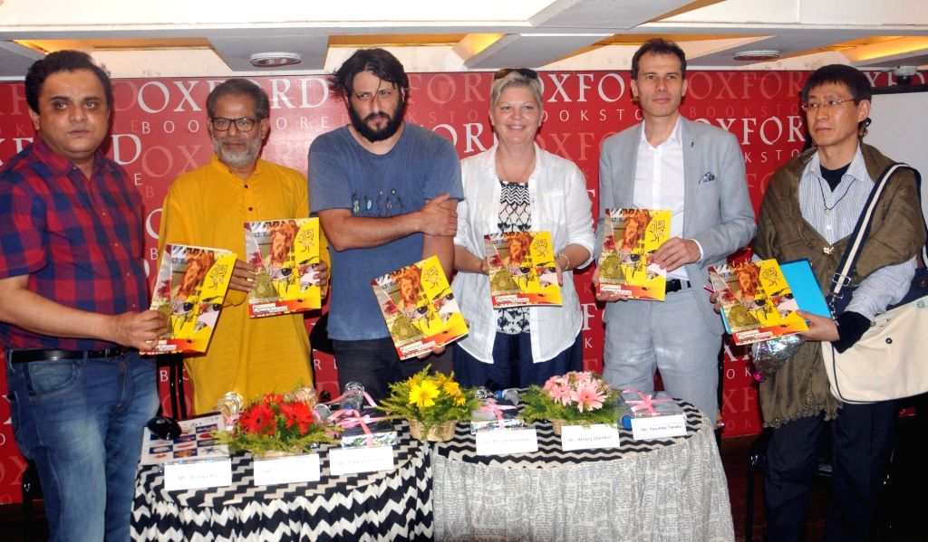 West Bengal Minister Bratya Basu, poet Subodh Sarkar, Alexei Idamkin, Yasuhiko Tanaka with director from Slovenia, Yonatan Esterkin during Curtain Raiser of 6th International Theatre ... - Bratya Basu