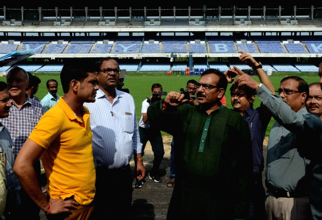 West Bengal Ministers Arup Biswas and Laxmi Ratan Shukla inspect the preparations for under 17 Football World Cup at Salt Lake in Kolkata, on June 1, 2016. - Arup Biswas and Laxmi Ratan Shukla