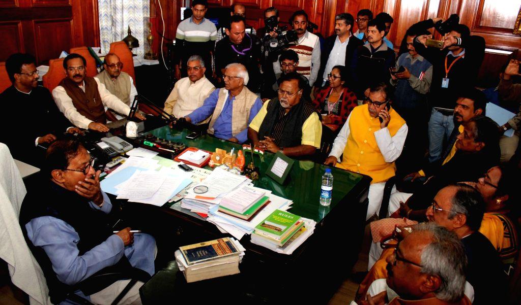 West Bengal Speaker Biman Banerjee during an all party meeting at the state assembly in Kolkata on Jan 31, 2019. - Biman Banerjee