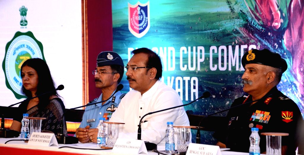 West Bengal Sports Minister Arup Biswas, Army chief, Eastern Command, Lt Gen RP Kalita and AIFF senior vice-president Subrata Dutta during a press conference regarding Durand Cup 2019, in ... - Arup Biswas