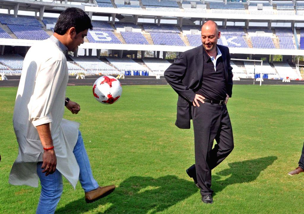 West Bengal Sports Minister Laxmi Ratan, FIFA Head of Tournaments U-17 World Cup Jaime Yarza at Vivekananda Yuba Bharati Krirangan Stadium in Kolkata on March 27, 2017. - Laxmi Ratan