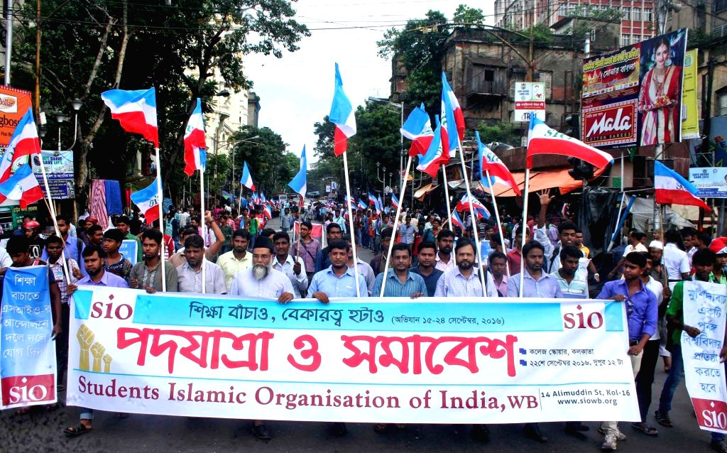 West Bengal Students Islamic Organisation of India activists take part in a protest rally against West Bengal Government in Kolkata on Sept 22, 2016.