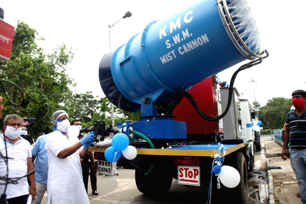 West Bengal Urban Development and Municipal Affairs Minister and Kolkata Mayor Firhad Hakim inaugurates a mist cannon sanitisation machine in Kolkata during a complete lockdown imposed in ...
