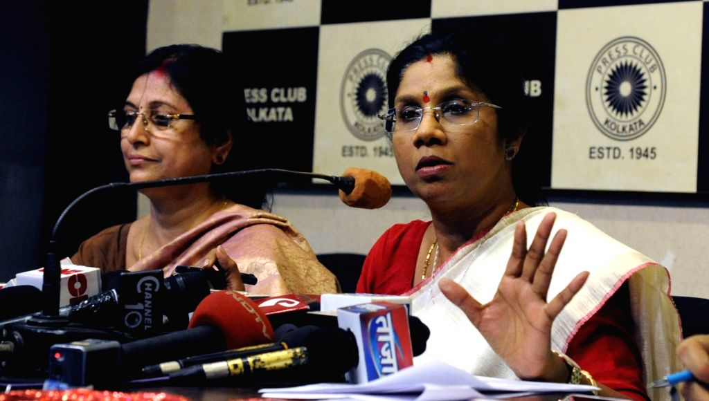 West Bengal Women's and Child Welfare Minister Shashi Panja addresses a press conference on International Day of persons with Disables Rojgar Mela 2016 in Kolkata on Nov 29, 2016. - Shashi Panja