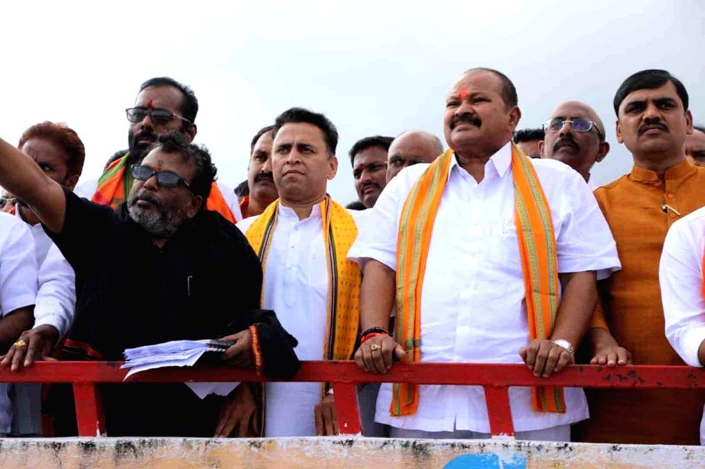 West Godavari: Andhra Pradesh BJP president Kanna Laxmi Narayana during his visit to to inspect the Polavaram Project in West Godavari district, on Oct 11, 2019.