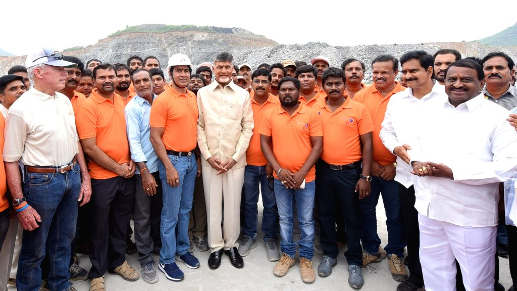 West Godavari: Andhra Pradesh Chief Minister N. Chandrababu Naidu inspects Polavaram project in West Godavari district on June 11, 2018. - N. Chandrababu Naidu