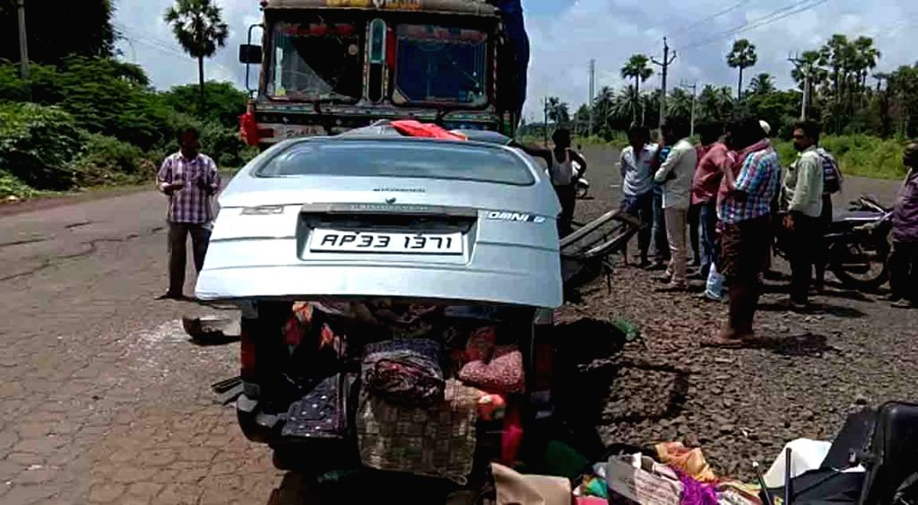 West Godavari: The van that rammed in to a truck at Nallajerla in West Godavari district of Andhra Pradesh on Sep 20, 2019.