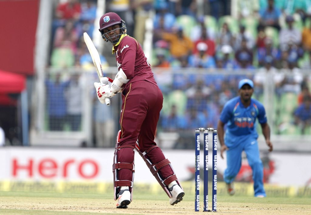 West Indies batsman Marlon Samuels in action during the fifth and final One-Day International (ODI) match between India and West indies in Thiruvananthapuram on Nov. 1, 2018. - Marlon Samuels