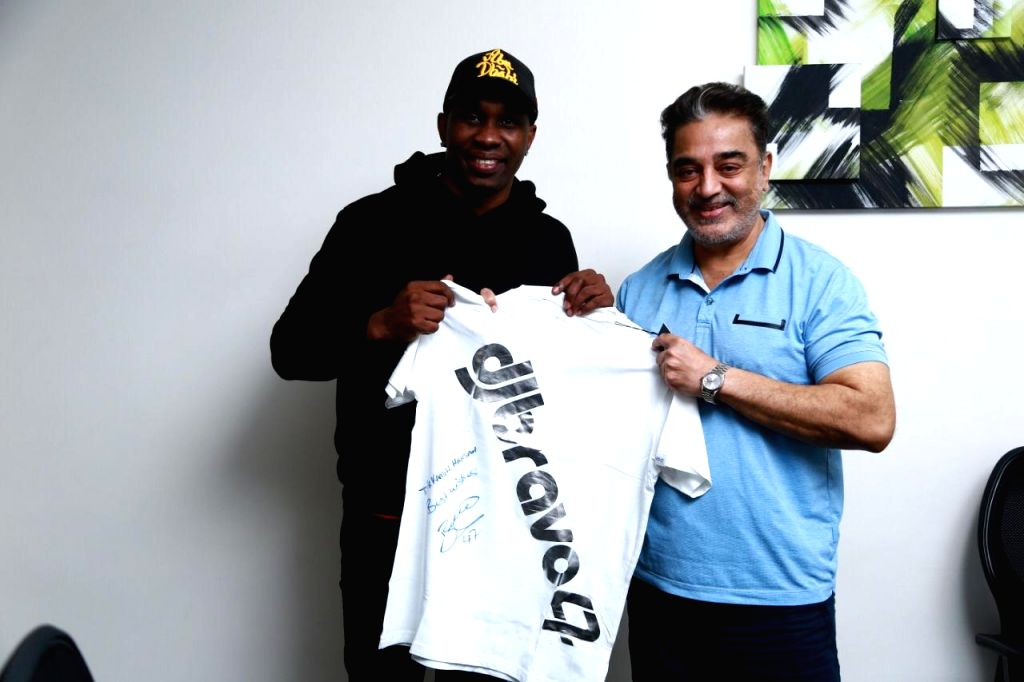 West Indies cricket superstar Dwayne Bravo, who has also wowed the IPL circuit as a Chennai Super Kings player, caught up with Tamil cinema doyen Kamal Haasan in the city on Wednesday.