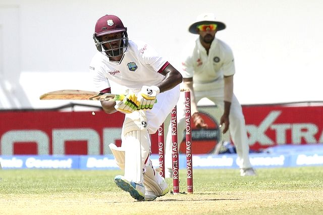 West Indies cricketer Jermaine Blackwood in action during the second test match between India and West Indies at Kingston, Jamaica, on Aug 4, 2016.
