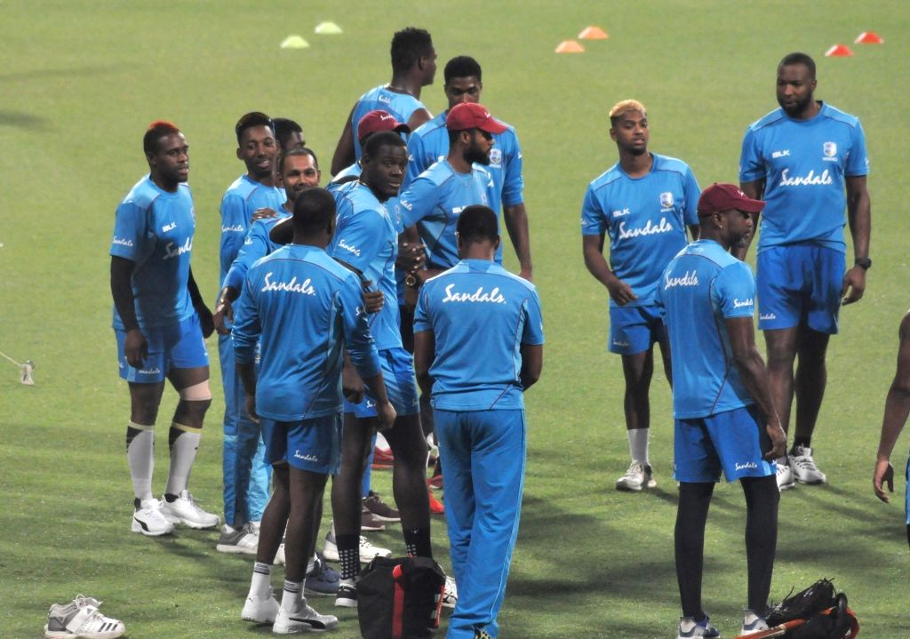 West Indies cricketers during a practice session ahead of the first T20 match against India at the Eden Gardens in Kolkata, on Nov 3, 2018.