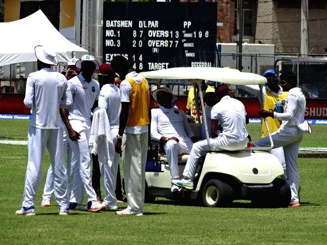 West Indies cricketers during the second test match between India and West Indies at Kingston, Jamaica July 31, 2016.
