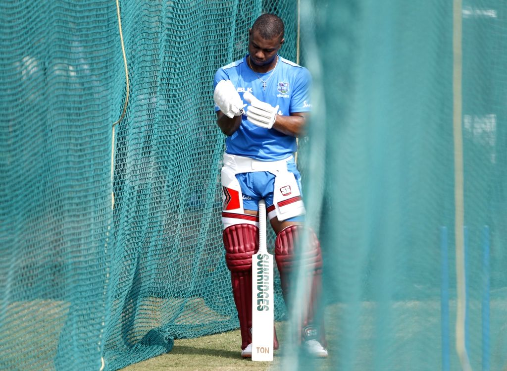 West Indies' Evin Lewis during a practice session ahead of the first Twenty20 match against India at Rajiv Gandhi International Cricket Stadium in Hyderabad on Dec 4, 2019.