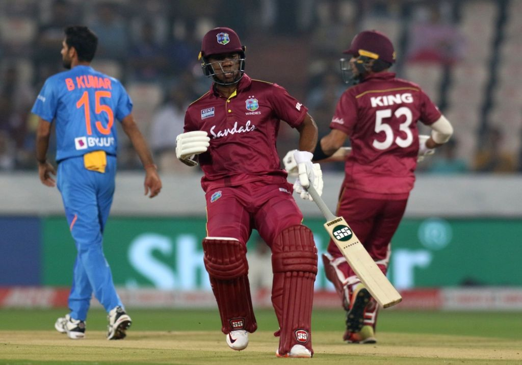 West Indies' Evin Lewis during the first T20I match between India and the West Indies at the Rajiv Gandhi International Stadium in Hyderabad on Dec 6, 2019.