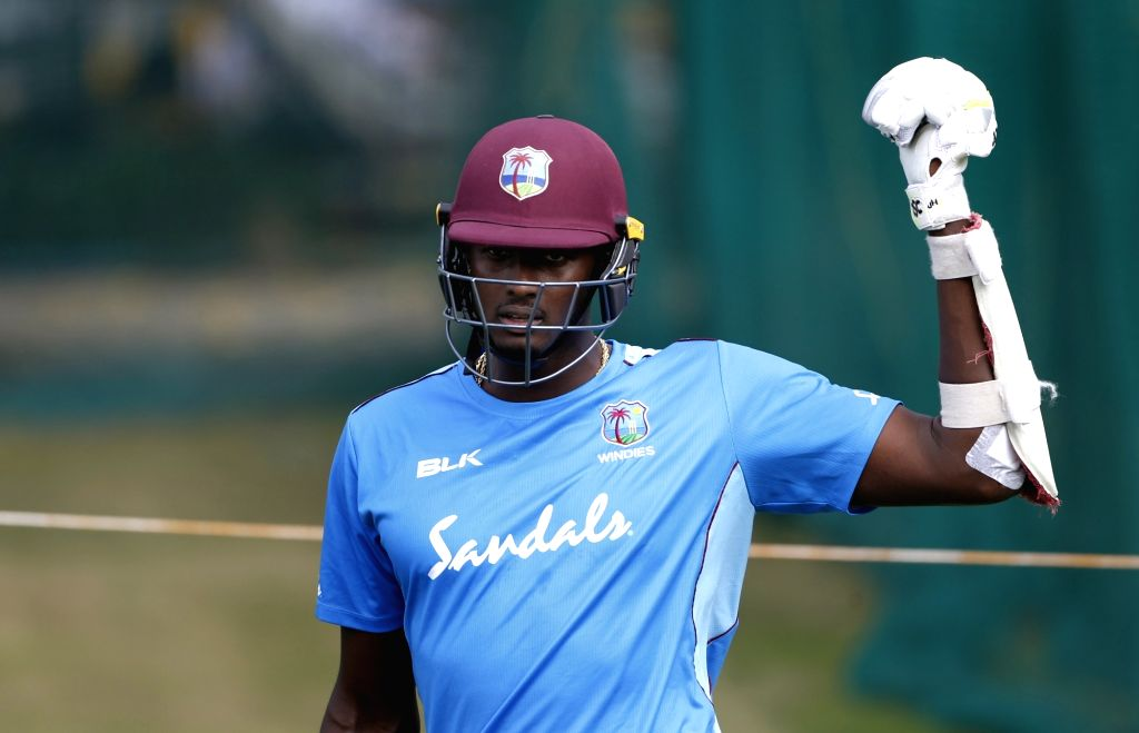 West Indies' Jason Holder during a practice session ahead of the first Twenty20 match against India at Rajiv Gandhi International Cricket Stadium in Hyderabad on Dec 4, 2019.