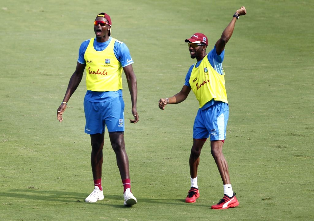 West Indies' Jason Holder during a practice session ahead of the first Twenty20 match against India at Rajiv Gandhi International Cricket Stadium in Hyderabad on Dec 5, 2019.