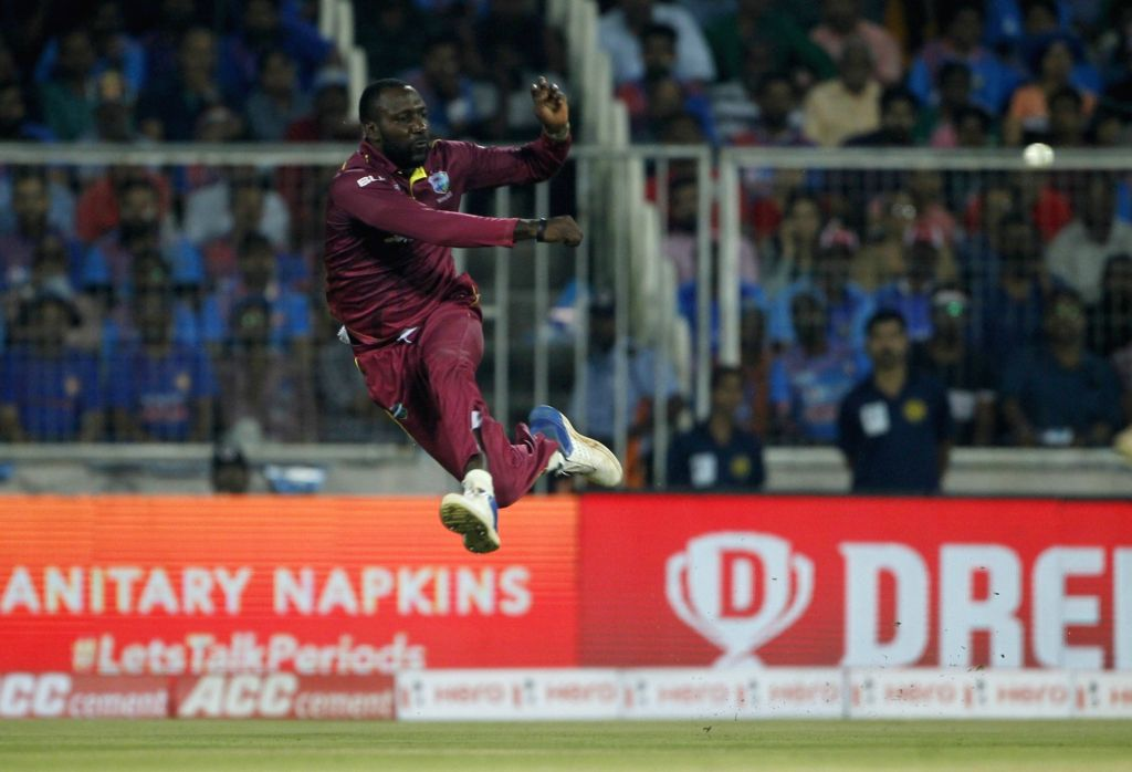West Indies' Kesrick Williams in action during the second T20I match between India and West Indies at the Greenfield International Stadium in Thiruvananthapuram, Kerala on Dec 8, ...