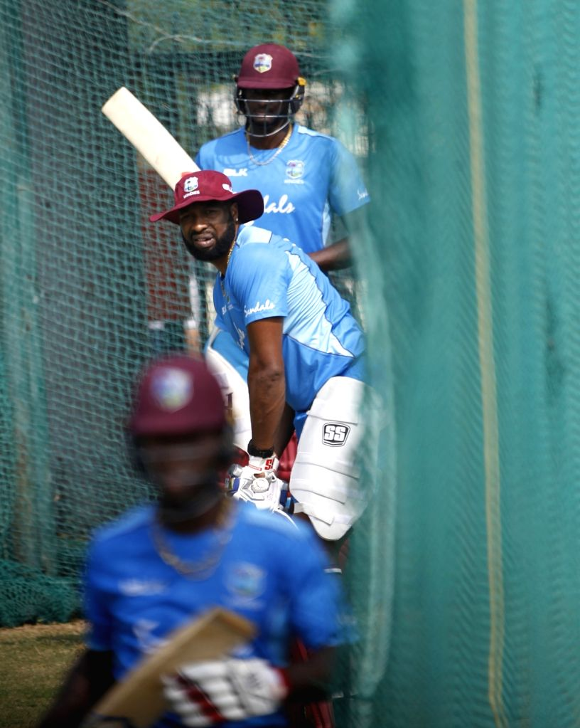 West Indies' Kieron Pollard during a practice session ahead of the first Twenty20 match against India at Rajiv Gandhi International Cricket Stadium in Hyderabad on Dec 4, 2019.