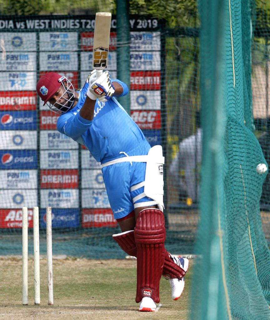 West Indies' Kieron Pollard during a practice session ahead of the first Twenty20 match against India at Rajiv Gandhi International Cricket Stadium in Hyderabad on Dec 5, 2019.