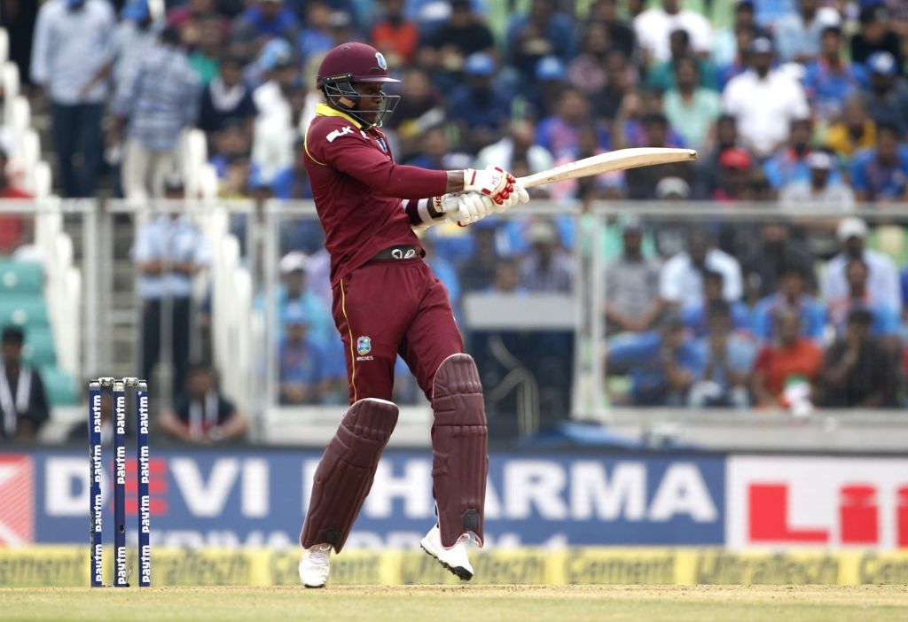 West Indies' Marlon Samuels in action during the fifth and final ODI match between India and West Indies in Thiruvananthapuram, on Nov. 1, 2018.