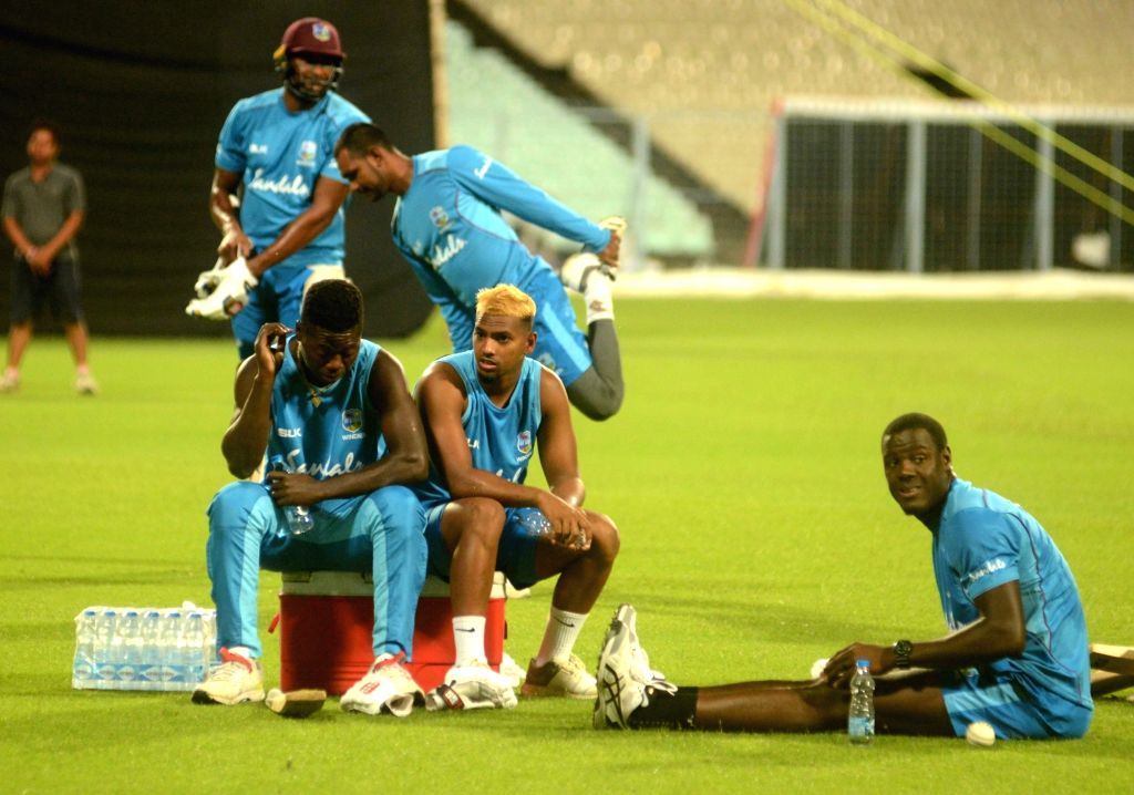 West Indies players during a practice session ahead of their 1st T20 match against India at the Eden Gardens in Kolkata on Nov. 1, 2018.