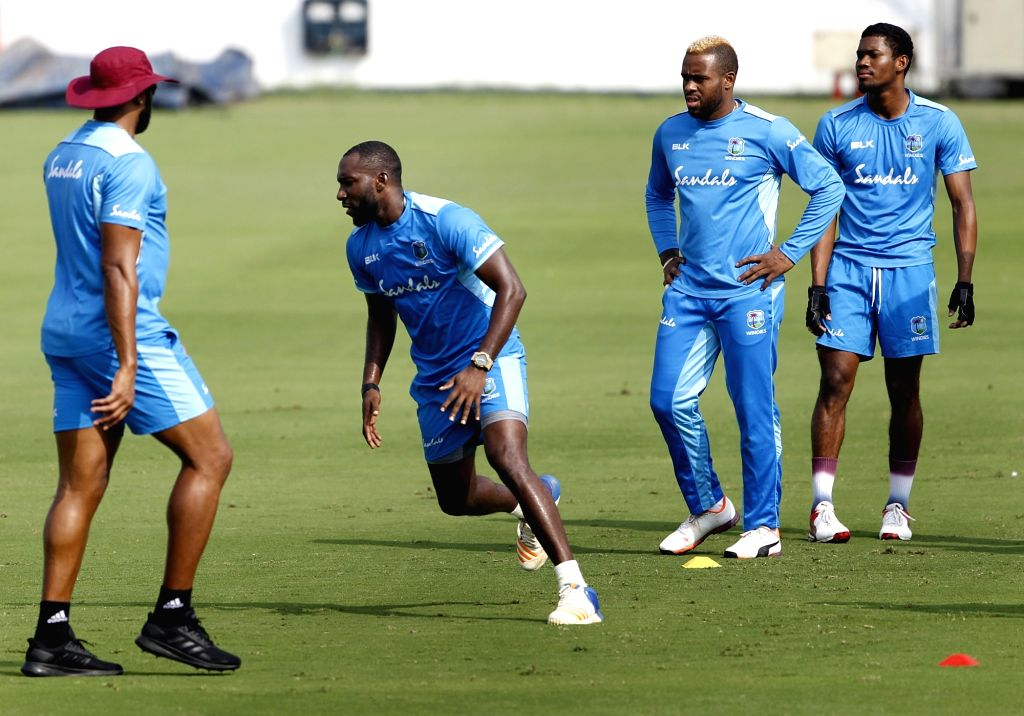West Indies' players during a practice session ahead of the first Twenty20 match against India at Rajiv Gandhi International Cricket Stadium in Hyderabad on Dec 4, 2019.