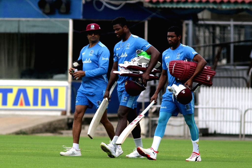 West Indies players during a practice session ahead of the 1st one-day international (ODI) match against India, in Chennai on Dec 13, 2019.