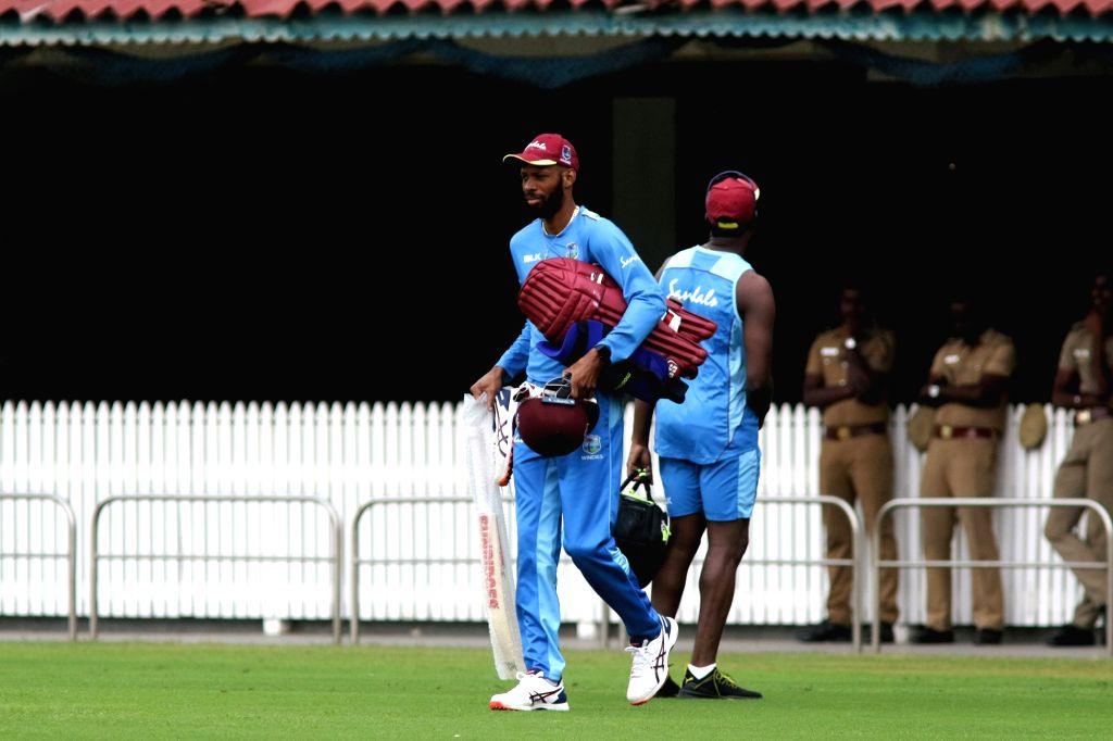 West Indies players during a practice session ahead of the 1st one-day international (ODI) match against India, at the MA Chidambaram stadium in Chennai on Dec 13, 2019.