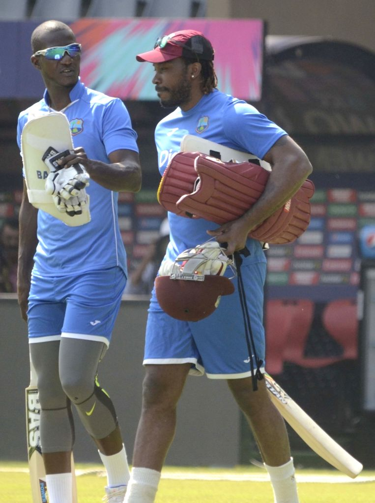 West Indies players during a practice session at Wankhede Stadium in Mumbai, on March 30, 2016.