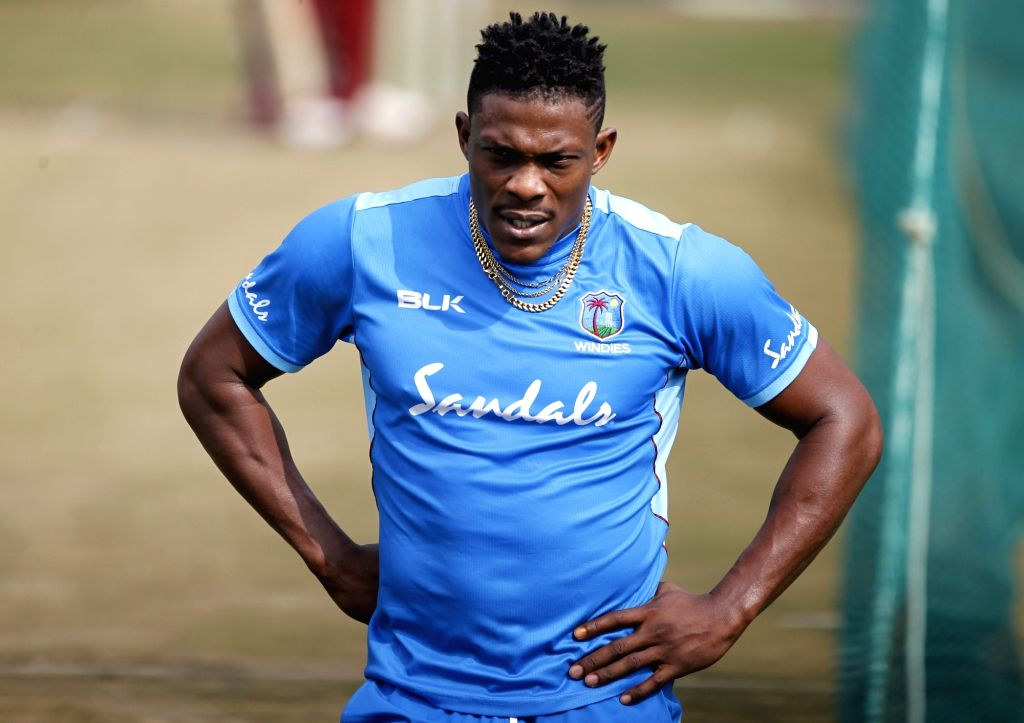 West Indies' Sheldon Cottrell during a practice session ahead of the first Twenty20 match against India at Rajiv Gandhi International Cricket Stadium in Hyderabad on Dec 5, 2019.