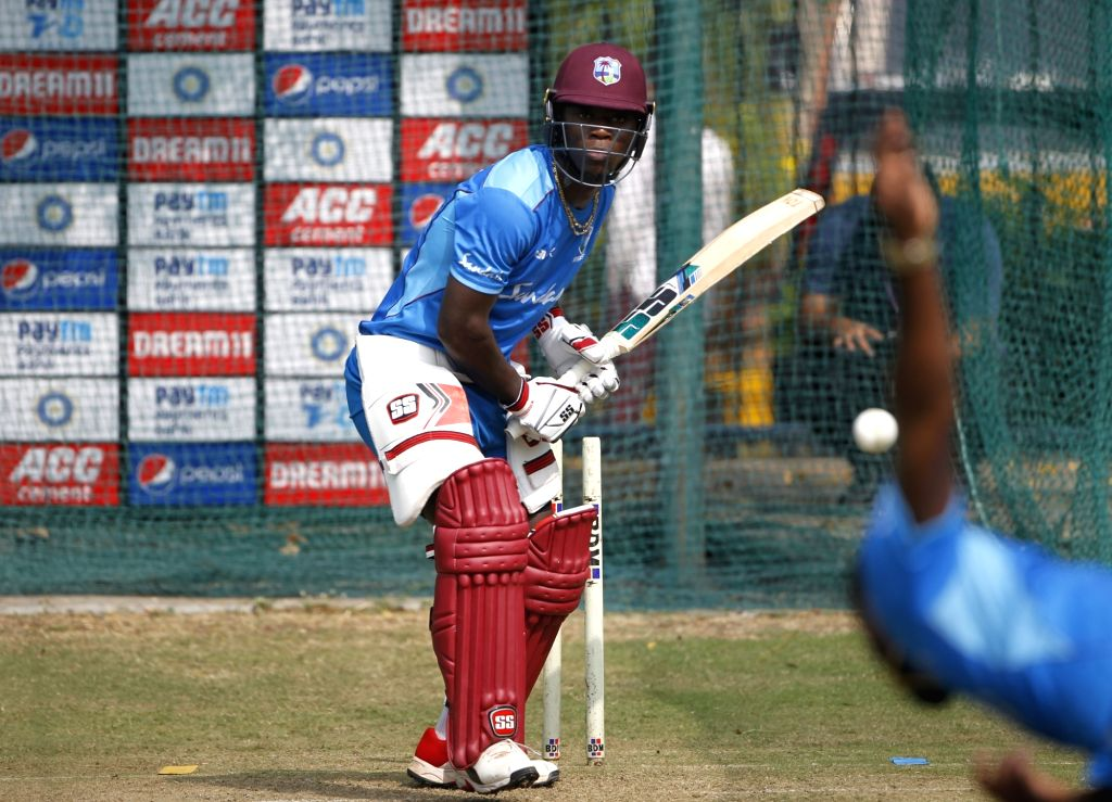 West Indies' Sherfane Rutherford during a practice session ahead of the first Twenty20 match against India at Rajiv Gandhi International Cricket Stadium in Hyderabad on Dec 4, 2019.