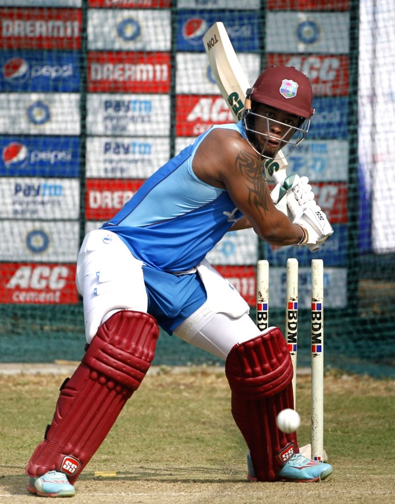West Indies' Shimron Hetmyer during a practice session ahead of the first Twenty20 match against India at Rajiv Gandhi International Cricket Stadium in Hyderabad on Dec 4, 2019.
