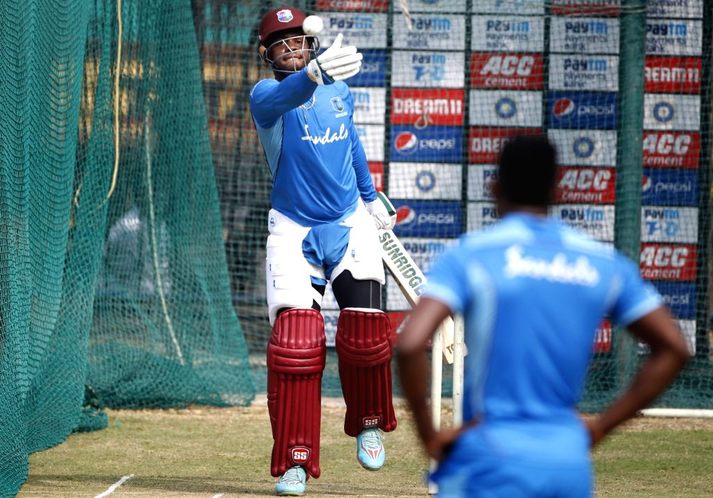 West Indies' Shimron Hetmyer during a practice session ahead of the first Twenty20 match against India at Rajiv Gandhi International Cricket Stadium in Hyderabad on Dec 5, 2019.