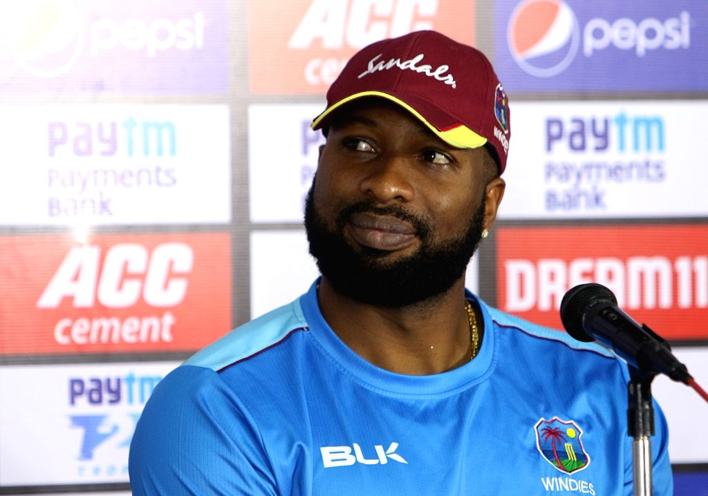 West Indies skipper Kieron Pollard addresses a press conference ahead of the first Twenty20 match against India at Rajiv Gandhi International Cricket Stadium in Hyderabad on Dec 5, 2019.