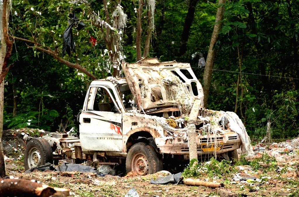 West Midnapore : A vehicle that was damaged in a fire that broke out at a fireworks manufacturing unit in  Brahman Bar village of West Bengal's West Midnapore district on May 7, 2015.