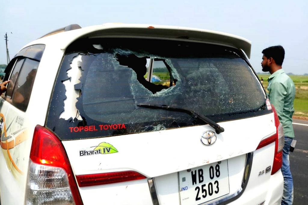 West Midnapore: BJP candidate from West Midnapore district's Ghatal and former IPS officer Bharati Ghosh's vehicle that was vandalised in West Midnapore on May 12, 2019. - Bharati Ghosh