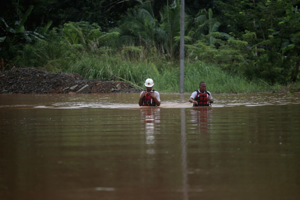 WEST PANAMA, Nov. 23, 2016 - Red Cross personnel take part in a rescue operation in La Chorrera, West Panama province, Panama, on Nov. 22, 2016. According to local press, the tropical storm Otto ...