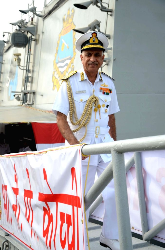 Western Naval Command chief Vice-Admiral Girish Luthra onboard INS Kochi n Mumbai on Dec 3, 2018.