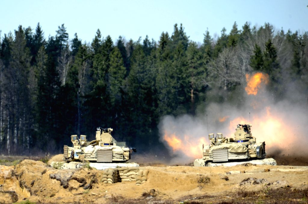WESTERN-An M1A2 tank takes part in battle shooting exercises in Western-Viru county in central Estonia on April 30, 2015. This exercise was held as a preparation to ...