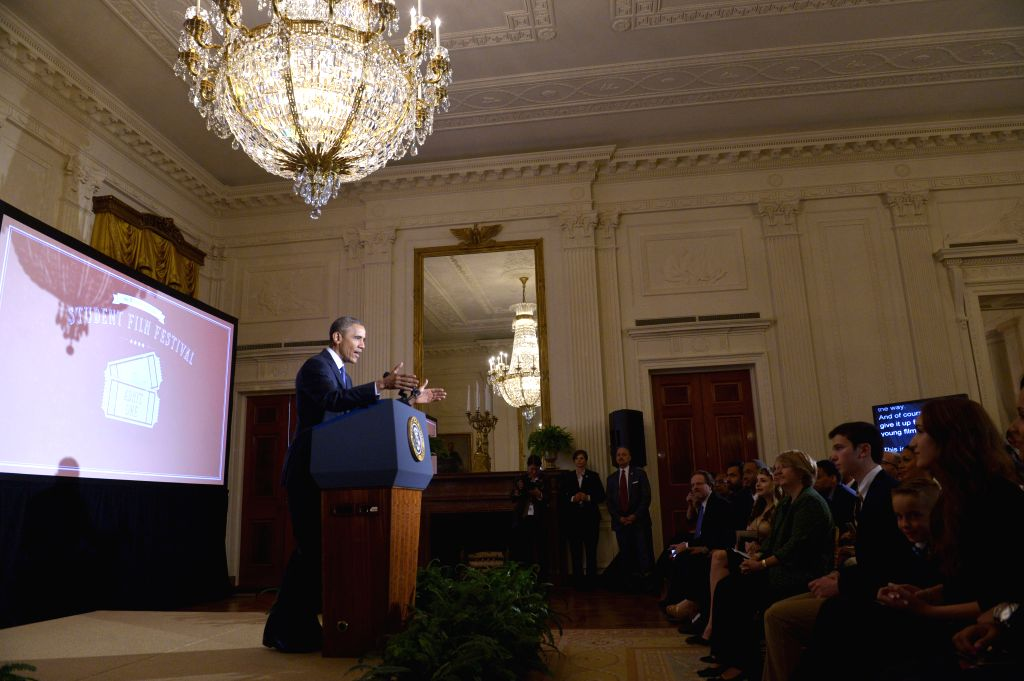 WHASHINGTON D.C., March 20, 2015 U.S. President Barack Obama speaks during the second-annual White House Student Film Festival in the East Room of the White House in Washington D.C., the ...