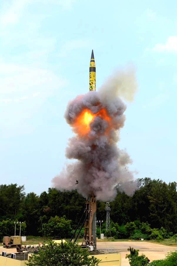 Wheeler Island: India's state-of-the-art nuclear capable Agni-5 ballistic missile being test fired with the help of a mobile launcher from launch pad-4 of the Integrated Test Range (ITR) in Dr APJ ...